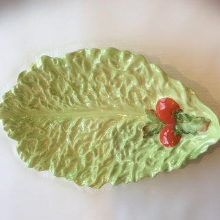 Vintage Green Lettuce Leaf Serving Dish
