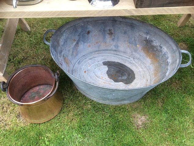 Vintage Prop Hire Tin Bath Trough and Copper Bucket