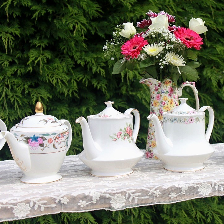 Three Vintage China Teapots with Flowers