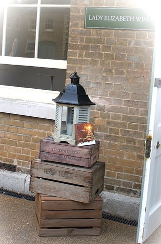 Vintage and Rustic Crates Stacked with Lantern Display.