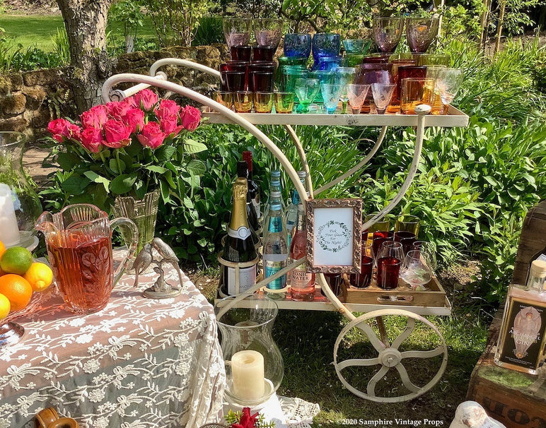 Vintage Drinks Trolley and Coloured Glassware Hire