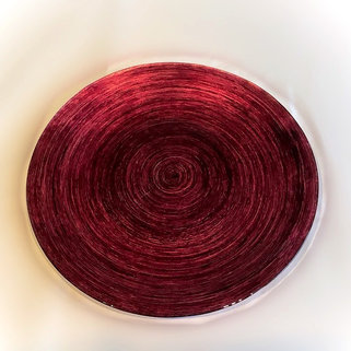 Ruby Coloured Glass Serving Plate