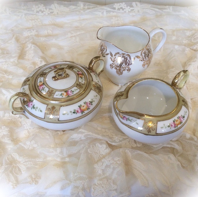 Vintage White and Gilt China Milk Jugs and Sugar Bowl