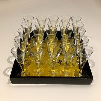 Mini Martini Shot glasses on Gold and Black Tray Event Barware Hire