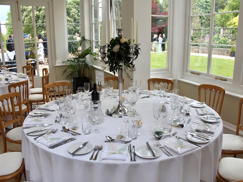 Stunning Wedding Table Goldsborough Hall Bespoke Menu Place Cards Fastened with Ivory Ribbon and Leaves
