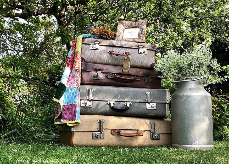 Vintage Suitcase Stack Rustic Styling