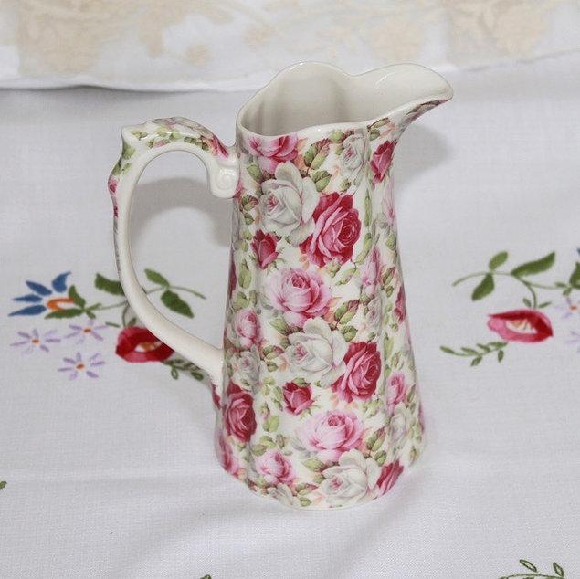 Vintage Style Pink Floral Ceramic Jug and Vintage Floral Tablecloth Wedding Prop Hire Norfolk