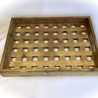 Gold Coloured Wooden Tray Barware Hire