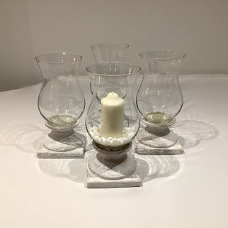 Glass Hurricane Urn Lamps on Rustic Stand