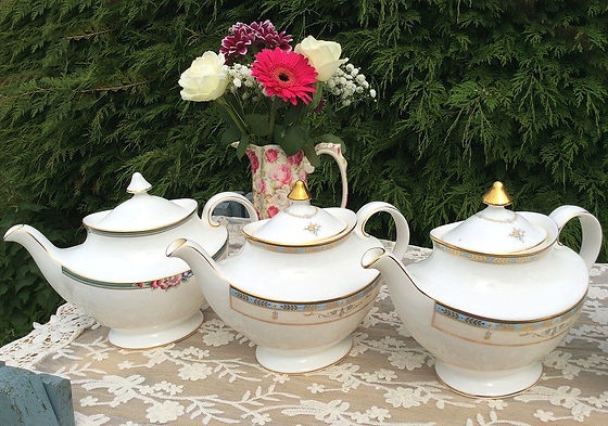 Vintage tea pots and china for tea parties