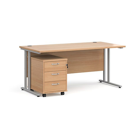 HS2 - 1600 Straight Desk + Pedestal