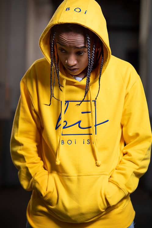 BOi  Premium 3D Embroidered Hoodie - Yellow