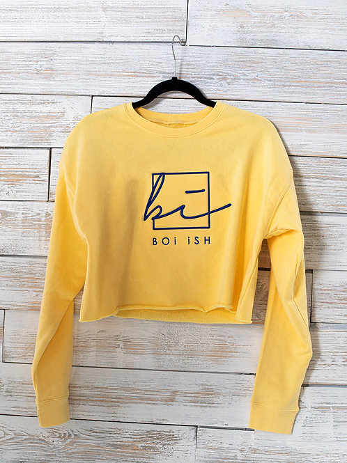 BOi iSH 3D Embroidered Relaxed Crop Top - Yellow