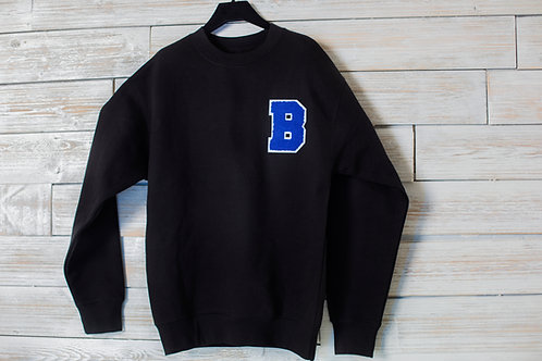 3D Embroidered Premium Crewneck Sweater - Black