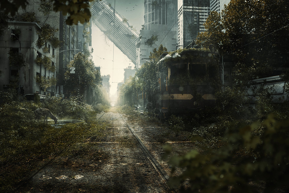 Apocalyptic city scene with lost skyscra