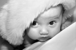 Cute Baby In Christmas Hat