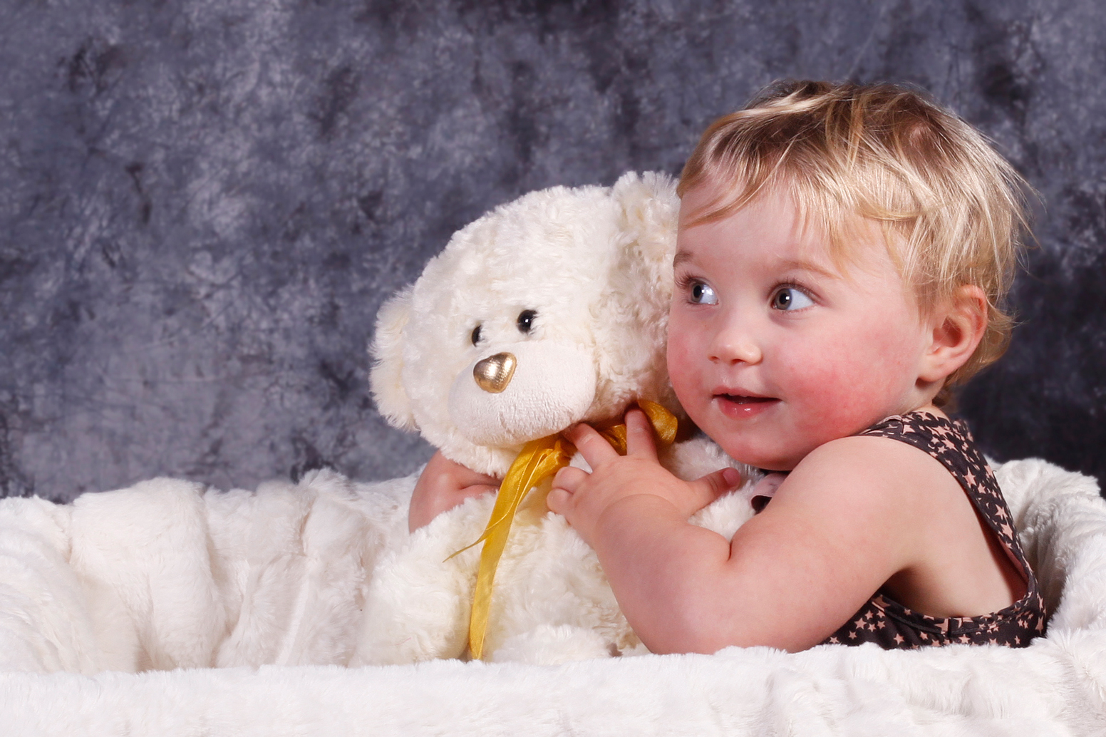 Baby In fluffy Basket