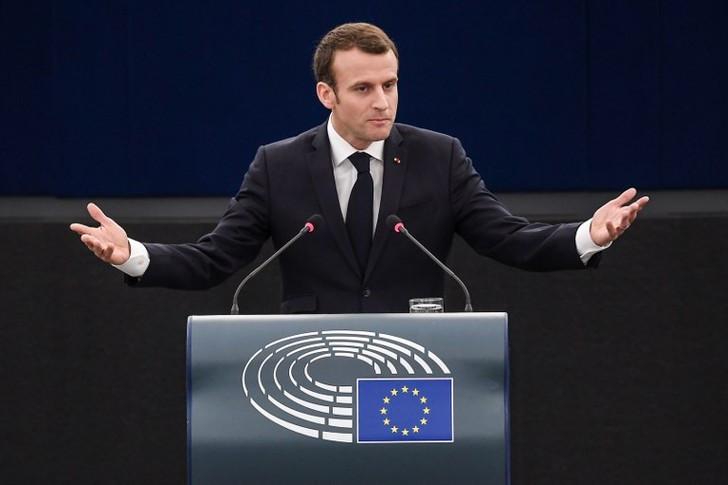 Emmanuel Macron lors de son discours devant le Parlement européen, Strasbourg, le 17 avril 2018. / Frederick Florin/AFP