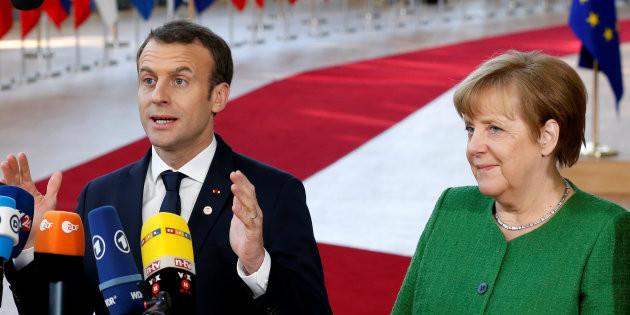 FRANCOIS LENOIR / REUTERS Emmanuel Macron reçoit Angela Merkel à l'Elysée.