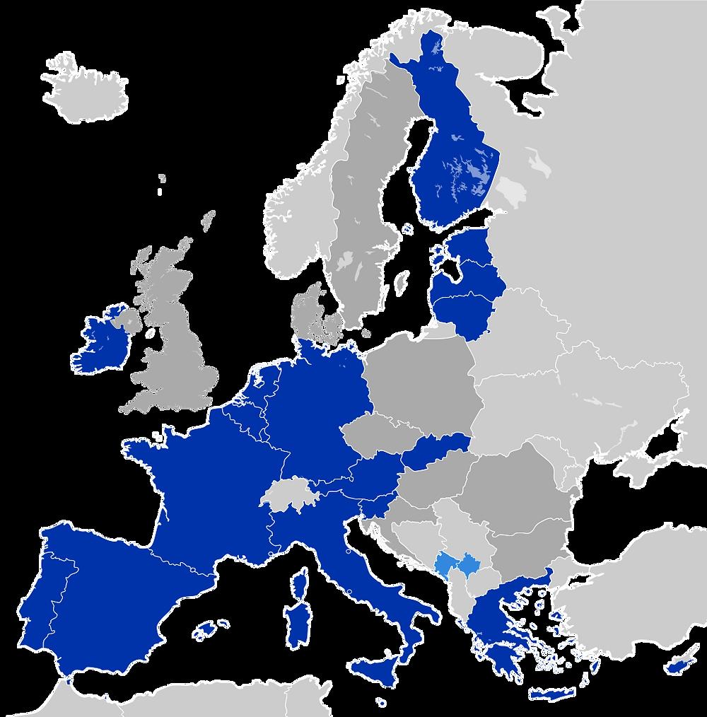 Pays ayant adopté l'euro. Image: Domaine public.