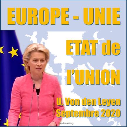 UE: Discours sur l'Etat de l'Union 2020