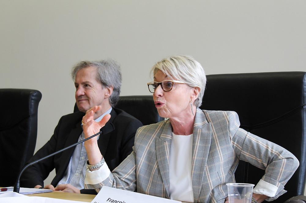 Les députés européens Françoise Grossetête (PPE) et Jo Leinen (PSE) le 18 mars à Lyon au colloque de l'Union des Fédéralistes européens