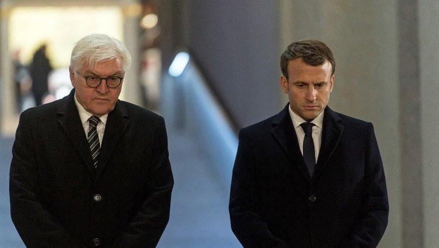 Emmanuel Macron et Frank-Walter Steinmeier à l'inauguration du mémorial franco-allemand de la Première Guerre mondiale. AFP PATRICK SEEGER