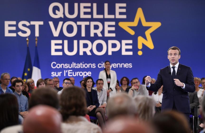 E. Macron lance les consultations européennes à Epinal, Frederick Florin/Pool via Reuters