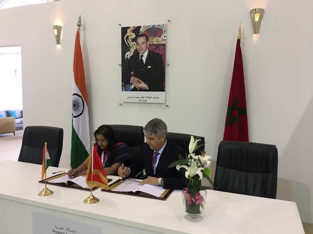 Hon'ble Ambassador of India to Morocco, Dr. Kheya Bhattacharya and Hon'ble Secretary of the Kingdom of Morocco signed the MoU's between India and Kingdom of Morocco
