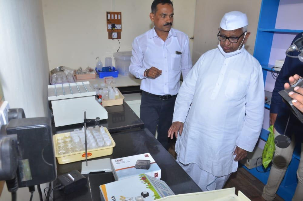 Anna Hazare inaugurating Harvesto Soil Testing Lab (Soil testing Kit)