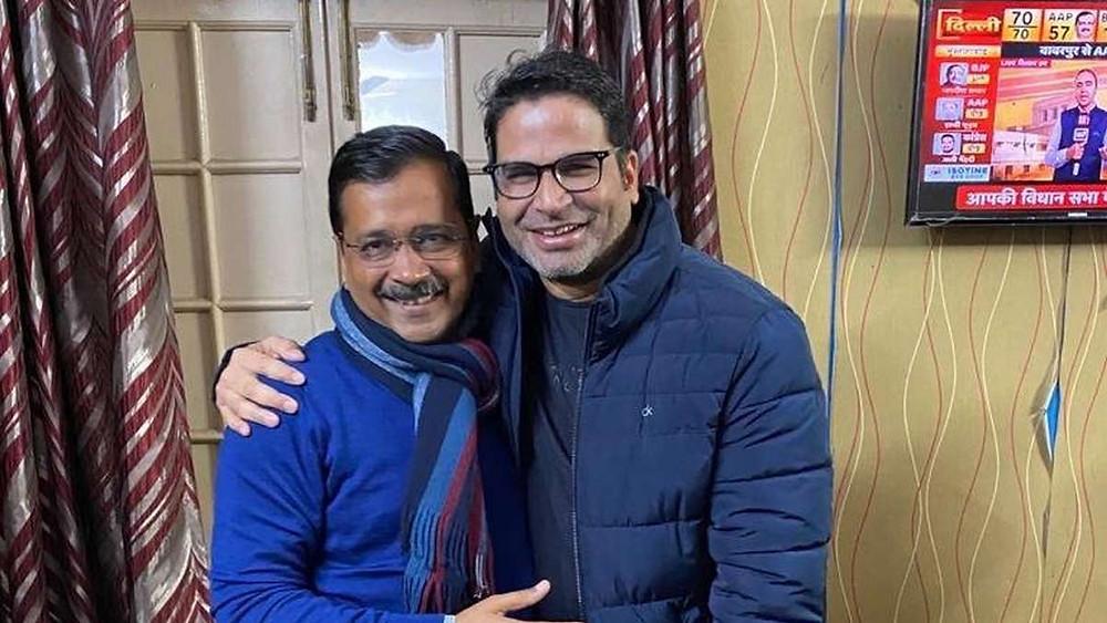 Political Consultant Prashant Kishore with Arvind Kejriwal