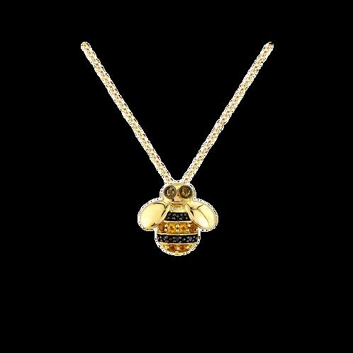 9ct Yellow Gold Diamond & Citrine Bee Pendant Necklace