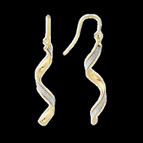 9ct Yellow Gold Glitter Twirl Earrings