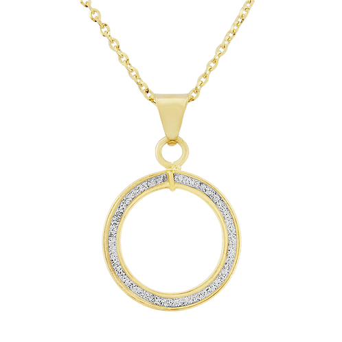 9ct Yellow Gold Glitter Halo Pendant Necklace