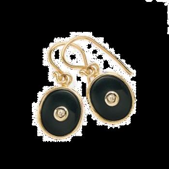 9ct Yellow Gold Onyx & Diamond Earring