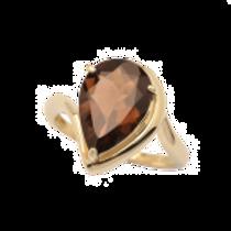 Smokey Quartz Teardrop Ring