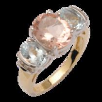 Morganite Aquamarine & Diamond Ring