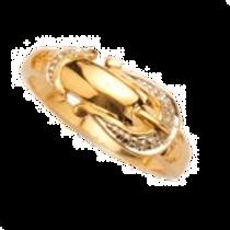9ct Yellow Gold Diamond Set Buckle Ring