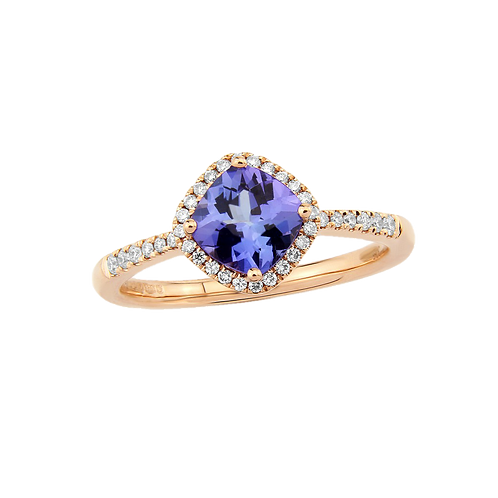 9ct Rose Gold Diamond & Tanzanite Ring