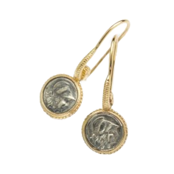 Oxidised Roman Coin Earrings
