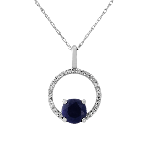 9ct White Gold Diamond & Sapphire Halo Pendant Necklace