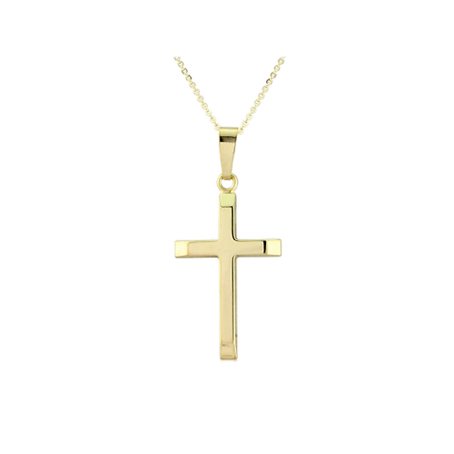 9ct Yellow Gold Cross Pendant Necklace