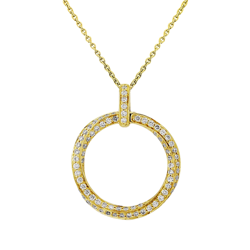 18ct Yellow Gold Diamond Circle Pendant Necklace