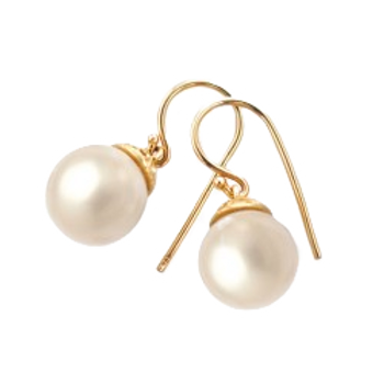 9ct Yellow Gold 11mm FW Pearl Earring with Rondels
