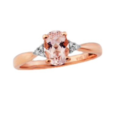 9ct Rose Gold Diamond & Morganite Ring