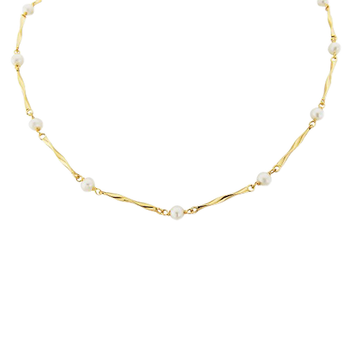 9ct Yellow Gold & Pearl Twist Link Necklace