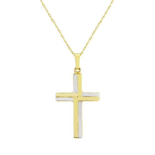 9ct Yellow and White Gold Cross Pendant Necklace