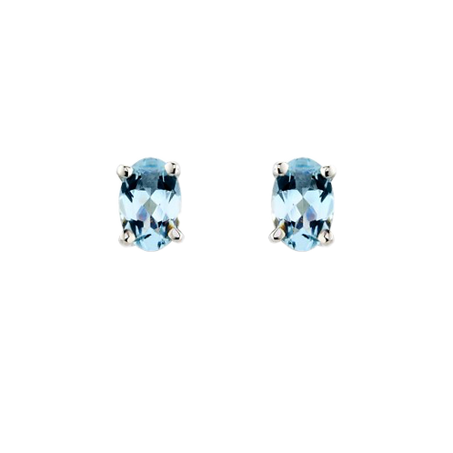 9ct White Gold Aquamarine Earrings