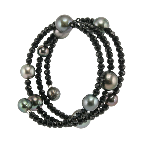Tahitian Multi-Colour Pearl and Black Spinel Bracelet