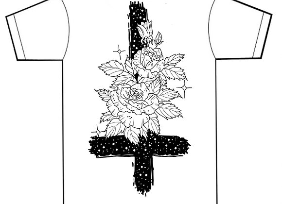 Cross & Roses Tee (BACK PRINT)